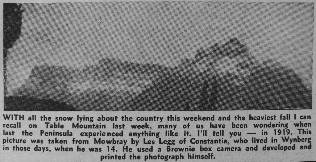 A 1971 Newspaper article featuring a photo from 1914 of Table Mountain Snow