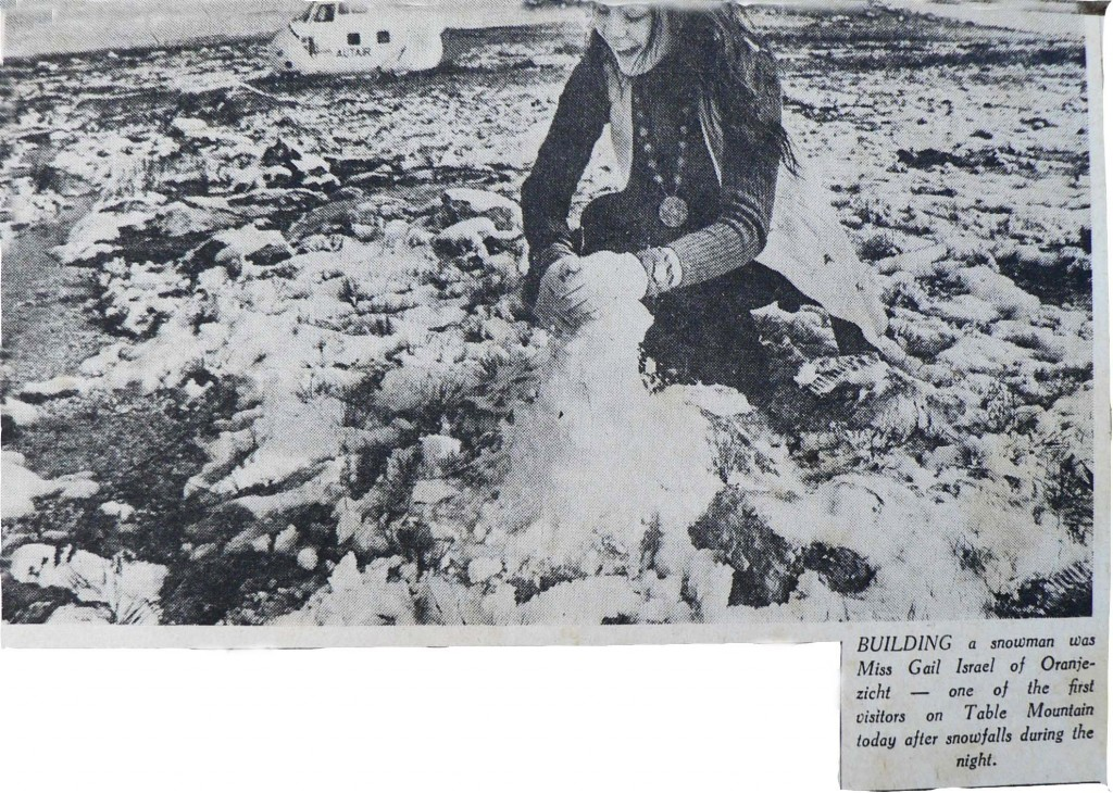 Newspaper clipping of Snow on Table Mountain August 1971