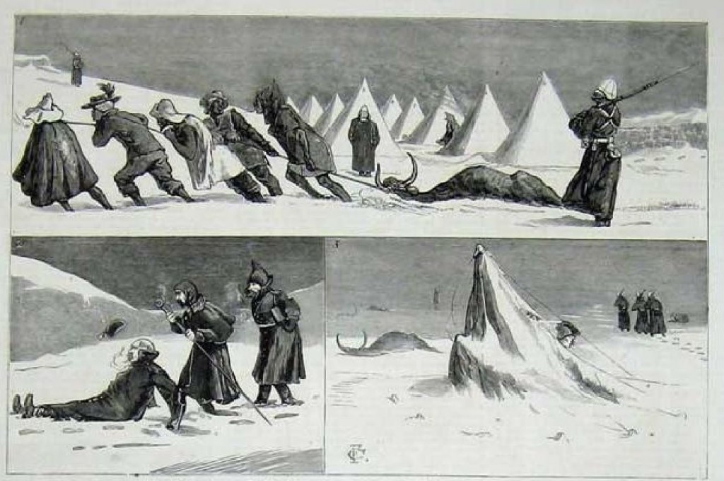 Illustration  of Snow Storm at Fort Amiel, Newcastle, Natal