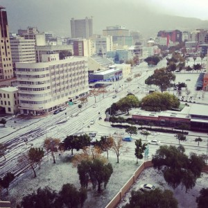 Hail that looked like snow in Cape Town - 2013