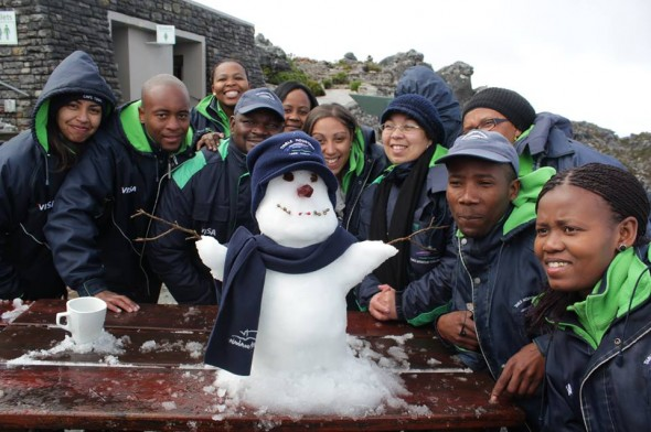 2013 - Table Mountain staff build a snowman!