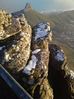 Table mountain dusting of snow June 15 2010