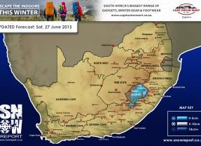 Snow Forecast: Sat, 27 June Lesotho, KZN Drakensberg & E Cape