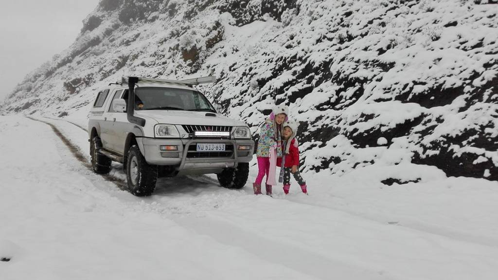 On Sani pass. Made it to the top with chains. Snow about a foot thick. Advisable to use chains this morning - Craig George
