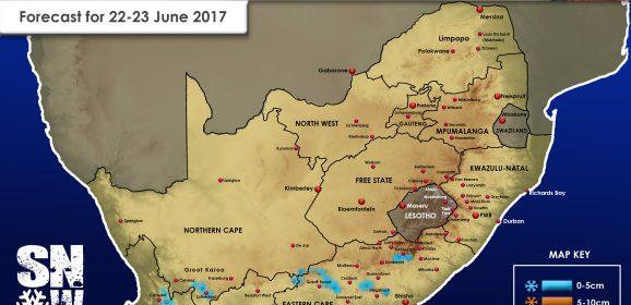 SA Snow Forecast for Thursday 22 – Friday 23 June 2017