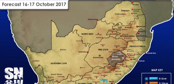 Snow Forecast: 16-17 October, W Cape and E Cape