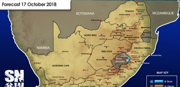 Snow Forecast: Eastern Cape, Lesotho, the Drakensberg: 17 October 2018