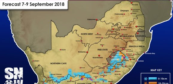 Updated forecast : 7 – 9 September 2018 : WC,NC,EC, KZN and Lesotho